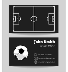 Soccer black business card template vector