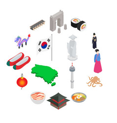 south korea icons set isometric 3d style vector image