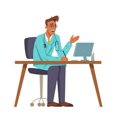 talking and gesturing gp or doctor in his office vector image