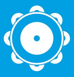 Tambourine icon white vector
