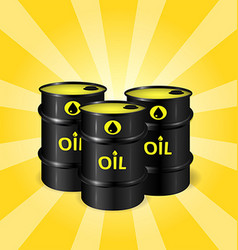 Three realistic oil barrels on sunray background vector