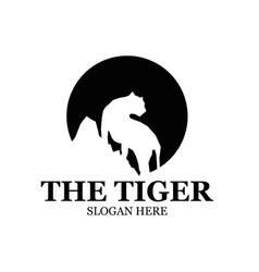 tiger and mountain logo designs simple vector image