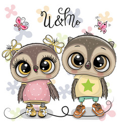 Two cute owls on a flowers background vector