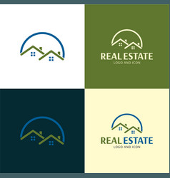 Two houses classic real estate logo and icon vector
