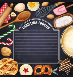 watercolor blackboard with christmas cookies vector image
