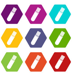 Welding rods icon set color hexahedron vector