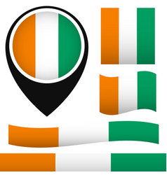 west africas ivory coast flag set vector image