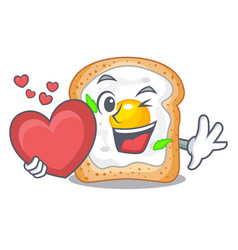 With heart sandwich with egg above character board vector