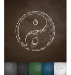 Yin Yang icon Hand drawn vector