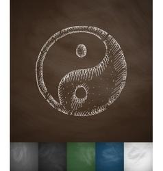 Yin yang icon hand drawn vector