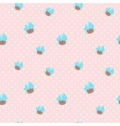 kawaii cupcakes seamless pattern Pink and vector image vector image