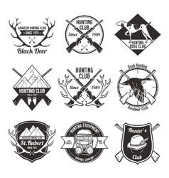 Vintage hunting labels set vector