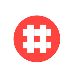 white hashtag in red circle vector image vector image
