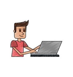 color pencil cartoon side view half body guy with vector image