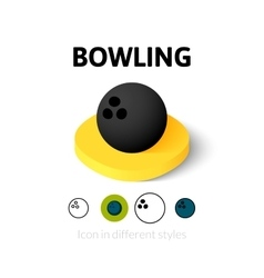 Bowling icon in different style vector image vector image