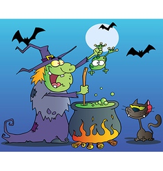 Cat Watching A Green Halloween Witch vector image vector image