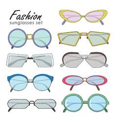 hand drawn fashion sunglasses set realistic vector image vector image