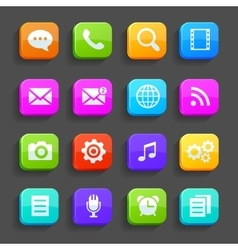 Icons for mobile phone isolated on gray vector image vector image
