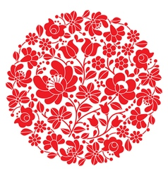 Kalocsai folk art embroidery - red Hungarian round vector image vector image