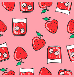 red drink fresh pattern style vector image