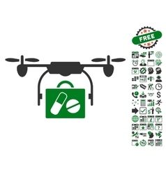 Airdrone Pharmacy Delivery Icon With Bonus vector image vector image