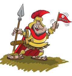 Cartoon Spartan Holding a Spear vector image vector image