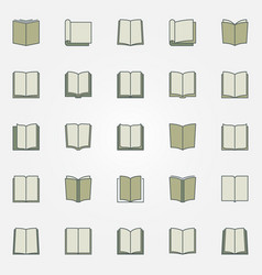 colorful book icons set vector image vector image