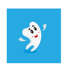 cute and happy shiny white tooth character looking vector image vector image