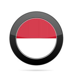 flag of monaco shiny black round button vector image