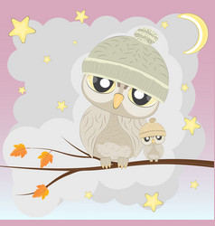 owl-famely vector image vector image