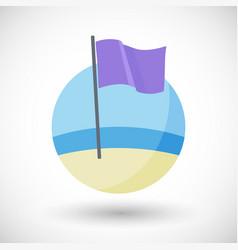 purple beach flag flat icon vector image