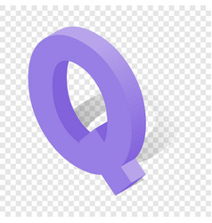 q letter in isometric 3d style with shadow vector image