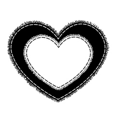 Silhouette of sewing heart with a fringe vector image