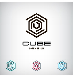 Technology Business abstract cube logo design vector image