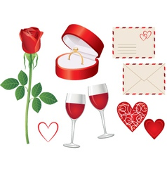 Valentine day icon set vector image