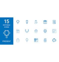 15 present icons vector