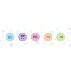 5 silhouette icons vector