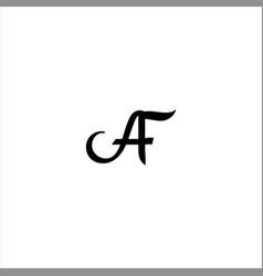 A f letter logo design on black color background vector