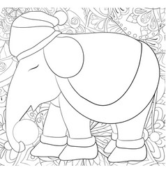Adult coloring bookpage a cute elephant wearing vector
