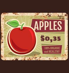 apples rusty metal plate fresh fruit tin sign vector image