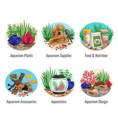 Aquarium compositions set vector