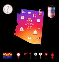 Arizona map night view compass icon map vector