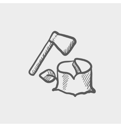 Ax and wood sketch icon vector