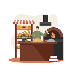 baker baking bread in bakery wood fired oven vector image