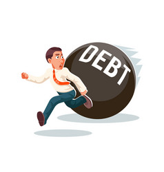Banking economic crisis run away businessman debt vector