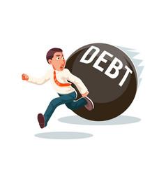 Banking economic crisis run away businessman debt vector