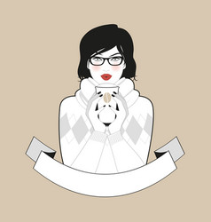 beautiful girl wearing glasses and winter clothes vector image