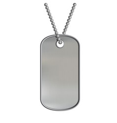 Blank metal tags hanging on a chain id military vector