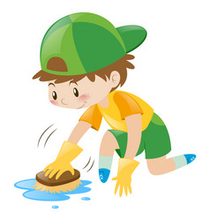 boy cleaning the floor with brush vector image