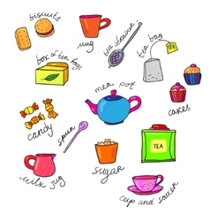 bright colors tea cup and teapot vector image